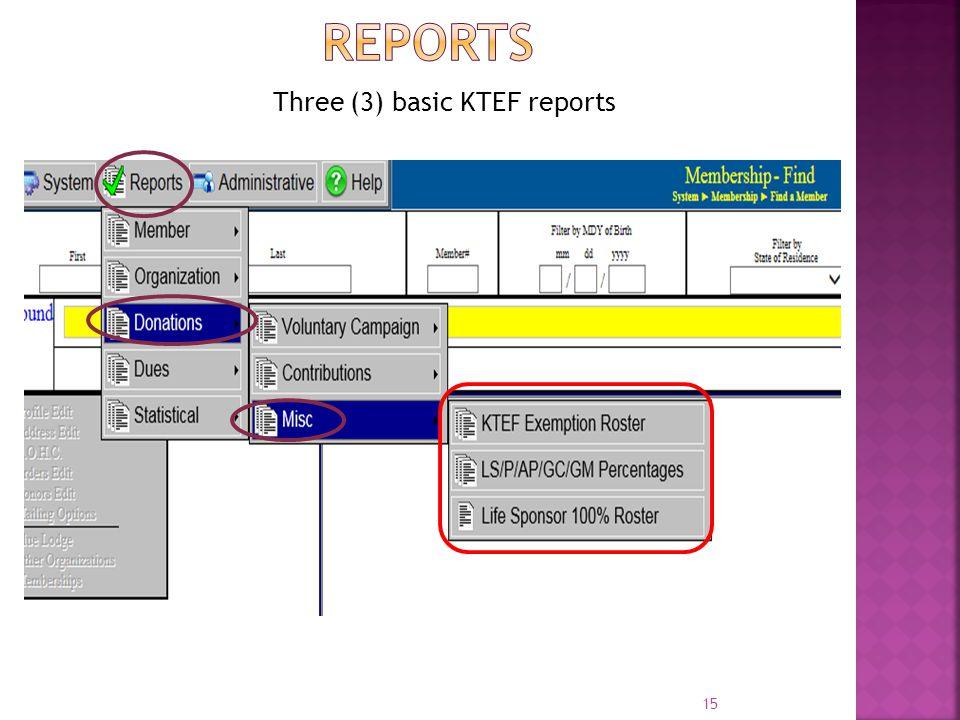 15 Three (3) basic KTEF reports