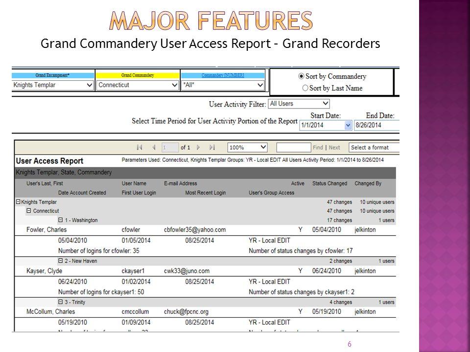 Grand Commandery User Access Report – Grand Recorders 6
