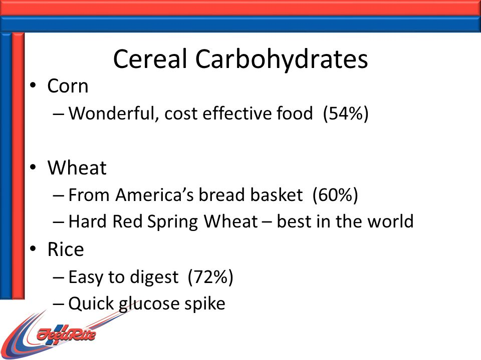 Corn – Wonderful, cost effective food (54%) Wheat – From America's bread basket (60%) – Hard Red Spring Wheat – best in the world Rice – Easy to digest (72%) – Quick glucose spike Cereal Carbohydrates