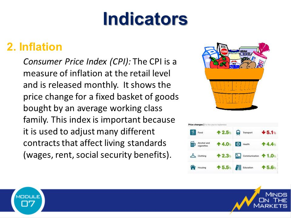 2. Inflation Consumer Price Index (CPI): The CPI is a measure of inflation at the retail level and is released monthly. It shows the price change for