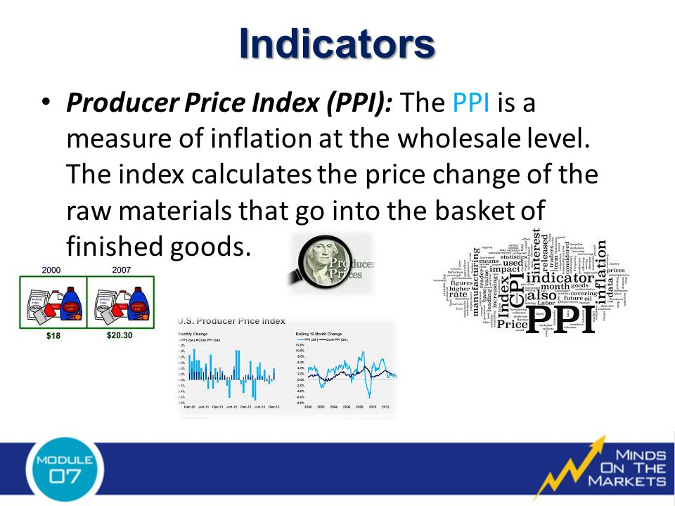 Producer Price Index (PPI): The PPI is a measure of inflation at the wholesale level.
