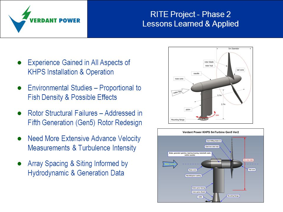 RITE Project - Phase 2 Lessons Learned & Applied Experience Gained in All Aspects of KHPS Installation & Operation Environmental Studies – Proportional to Fish Density & Possible Effects Rotor Structural Failures – Addressed in Fifth Generation (Gen5) Rotor Redesign Need More Extensive Advance Velocity Measurements & Turbulence Intensity Array Spacing & Siting Informed by Hydrodynamic & Generation Data