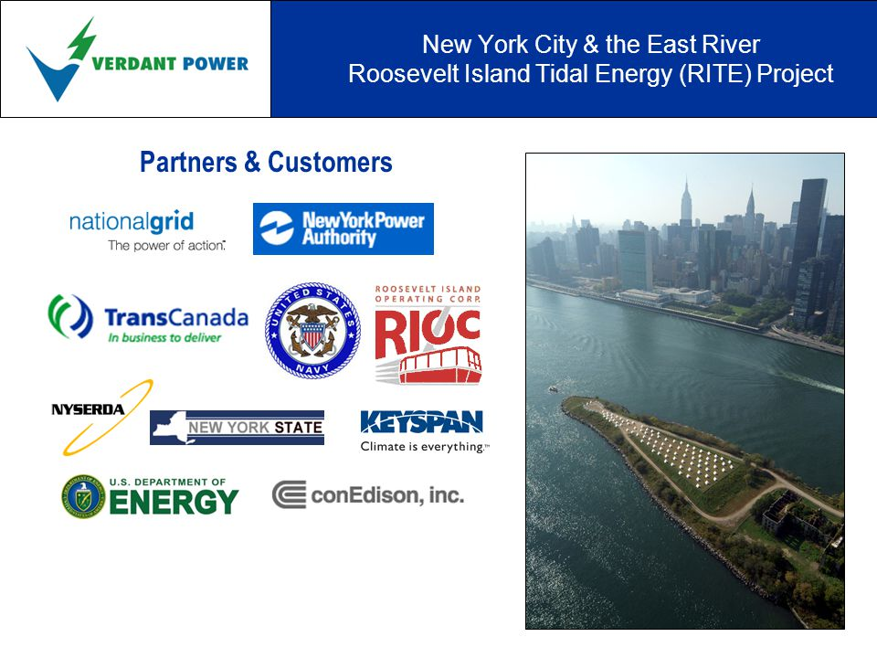 New York City & the East River Roosevelt Island Tidal Energy (RITE) Project Partners & Customers