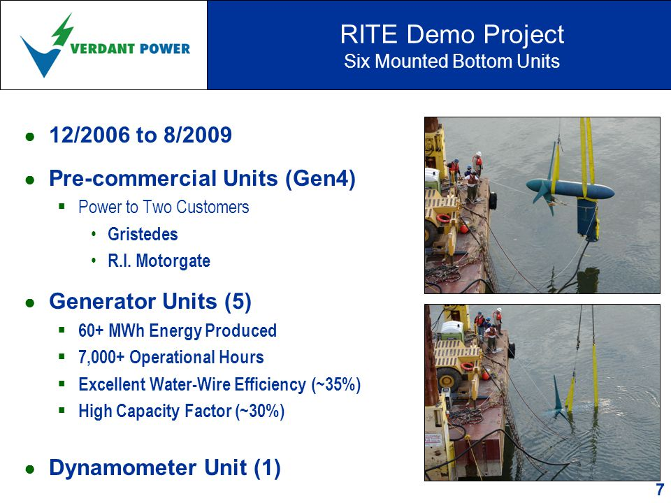RITE Demo Project Six Mounted Bottom Units ● 12/2006 to 8/2009 ● Pre-commercial Units (Gen4)  Power to Two Customers Gristedes R.I.