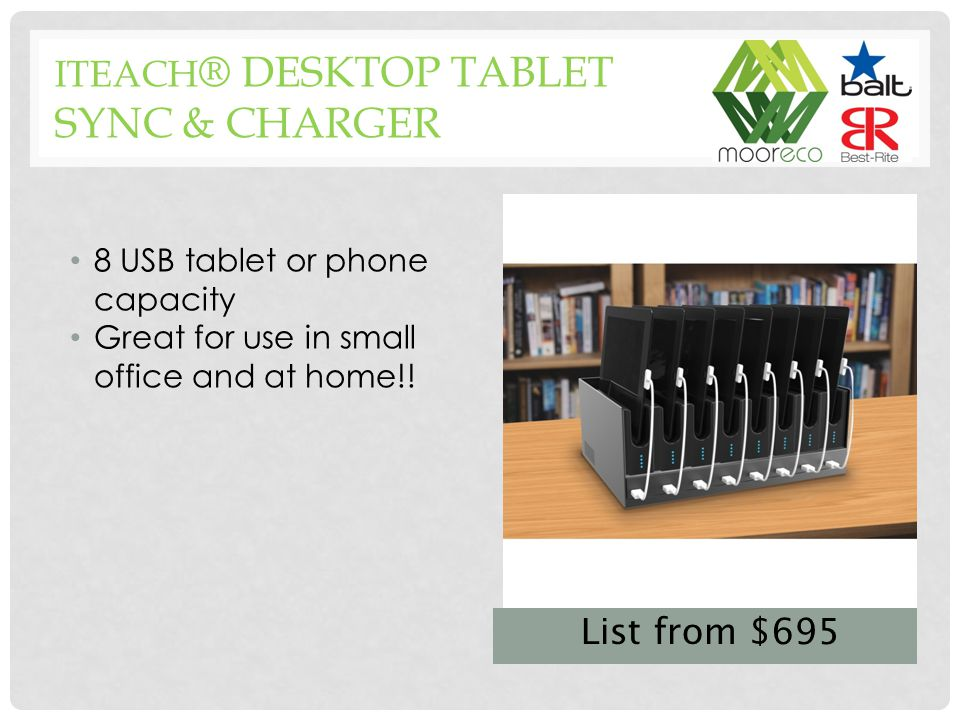 8 USB tablet or phone capacity Great for use in small office and at home!.