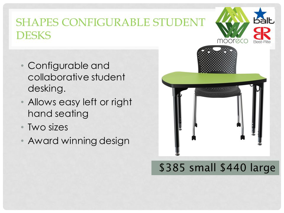 Configurable and collaborative student desking.