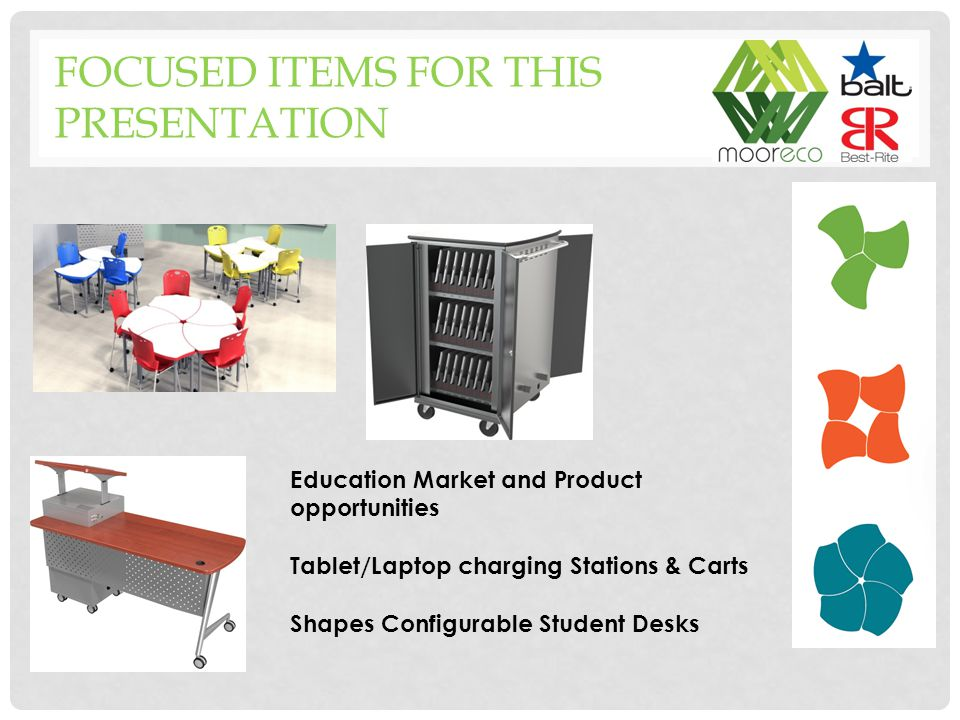 FOCUSED ITEMS FOR THIS PRESENTATION Education Market and Product opportunities Tablet/Laptop charging Stations & Carts Shapes Configurable Student Desks