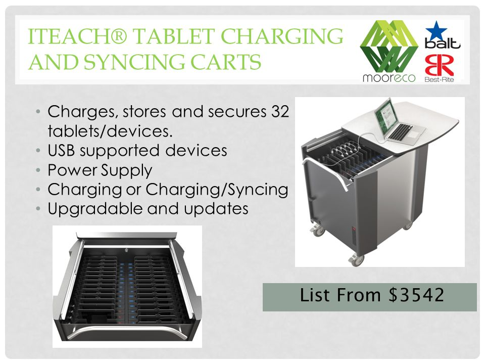 Charges, stores and secures 32 tablets/devices.