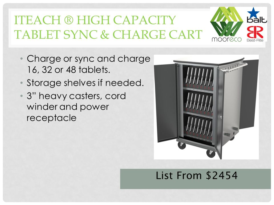 Charge or sync and charge 16, 32 or 48 tablets. Storage shelves if needed.
