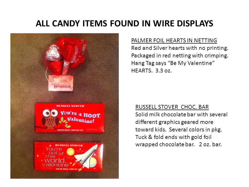 ALL CANDY ITEMS FOUND IN WIRE DISPLAYS PALMER FOIL HEARTS IN NETTING Red and Silver hearts with no printing.