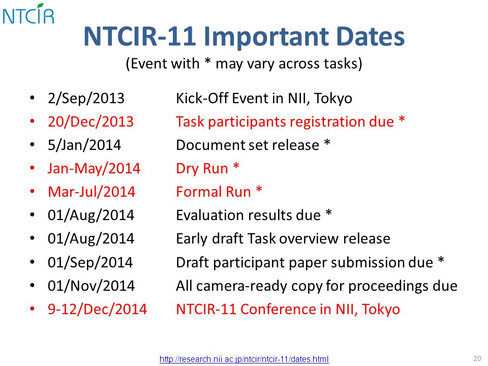 NTCIR-11 Important Dates (Event with * may vary across tasks) 2/Sep/2013Kick-Off Event in NII, Tokyo 20/Dec/2013Task participants registration due * 5/Jan/2014Document set release * Jan-May/2014Dry Run * Mar-Jul/2014Formal Run * 01/Aug/2014Evaluation results due * 01/Aug/2014Early draft Task overview release 01/Sep/2014Draft participant paper submission due * 01/Nov/2014All camera-ready copy for proceedings due 9-12/Dec/2014NTCIR-11 Conference in NII, Tokyo 20 http://research.nii.ac.jp/ntcir/ntcir-11/dates.html
