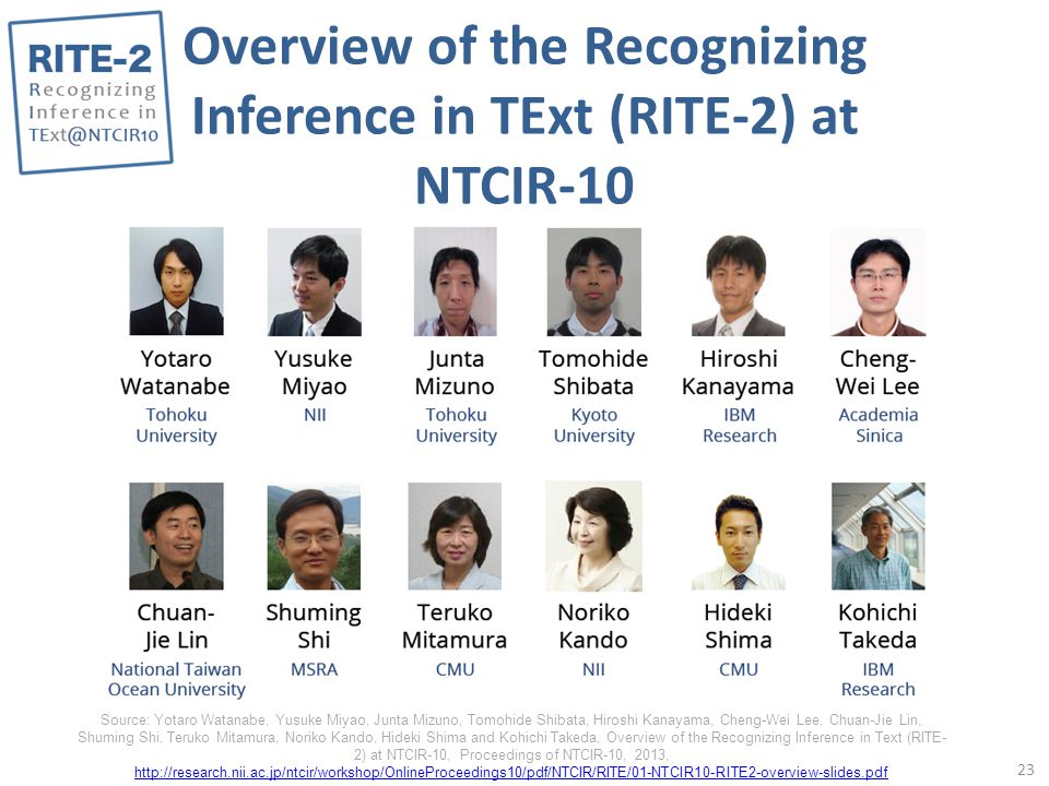 Overview of the Recognizing Inference in TExt (RITE-2) at NTCIR-10 23 Source: Yotaro Watanabe, Yusuke Miyao, Junta Mizuno, Tomohide Shibata, Hiroshi Kanayama, Cheng-Wei Lee, Chuan-Jie Lin, Shuming Shi, Teruko Mitamura, Noriko Kando, Hideki Shima and Kohichi Takeda, Overview of the Recognizing Inference in Text (RITE- 2) at NTCIR-10, Proceedings of NTCIR-10, 2013, http://research.nii.ac.jp/ntcir/workshop/OnlineProceedings10/pdf/NTCIR/RITE/01-NTCIR10-RITE2-overview-slides.pdf http://research.nii.ac.jp/ntcir/workshop/OnlineProceedings10/pdf/NTCIR/RITE/01-NTCIR10-RITE2-overview-slides.pdf
