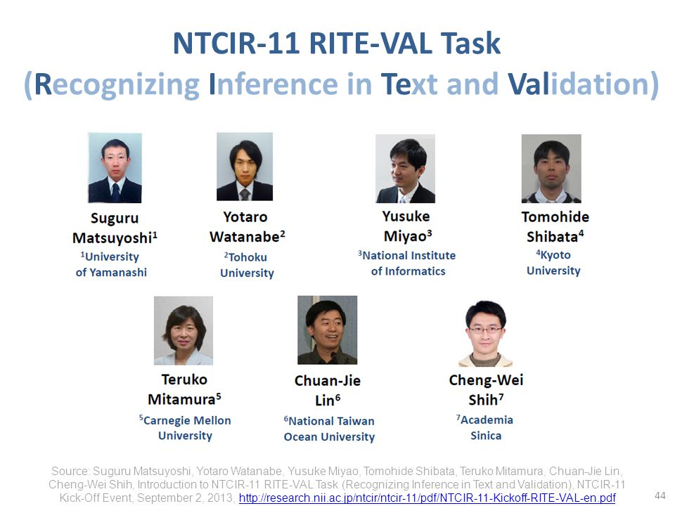 NTCIR-11 RITE-VAL Task (Recognizing Inference in Text and Validation) 44 Source: Suguru Matsuyoshi, Yotaro Watanabe, Yusuke Miyao, Tomohide Shibata, Teruko Mitamura, Chuan-Jie Lin, Cheng-Wei Shih, Introduction to NTCIR-11 RITE-VAL Task (Recognizing Inference in Text and Validation), NTCIR-11 Kick-Off Event, September 2, 2013, http://research.nii.ac.jp/ntcir/ntcir-11/pdf/NTCIR-11-Kickoff-RITE-VAL-en.pdfhttp://research.nii.ac.jp/ntcir/ntcir-11/pdf/NTCIR-11-Kickoff-RITE-VAL-en.pdf