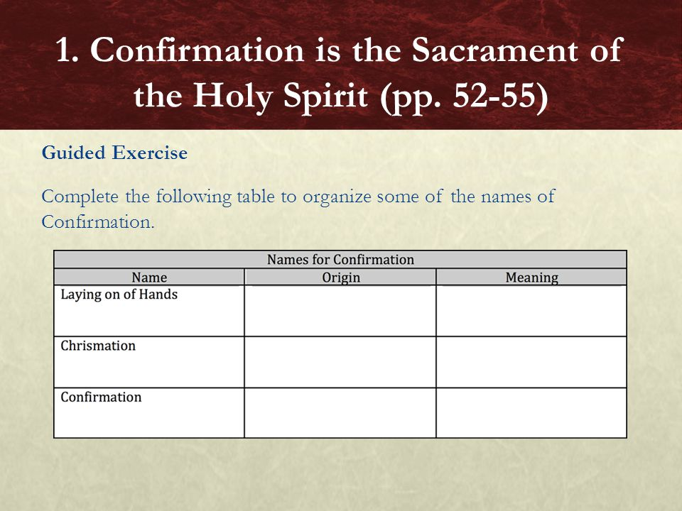 Guided Exercise Complete the following table to organize some of the names of Confirmation. 1. Confirmation is the Sacrament of the Holy Spirit (pp. 5