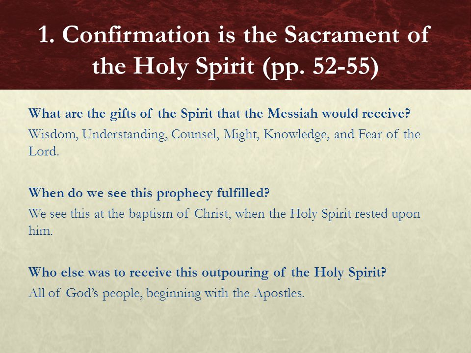 What are the gifts of the Spirit that the Messiah would receive? Wisdom, Understanding, Counsel, Might, Knowledge, and Fear of the Lord. When do we se