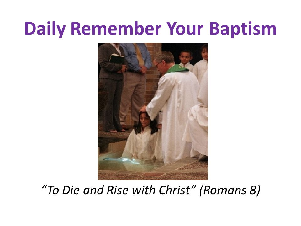 Daily Remember Your Baptism To Die and Rise with Christ (Romans 8)