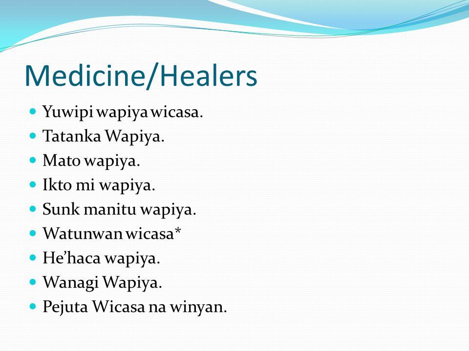 Medicine/Healers Yuwipi wapiya wicasa. Tatanka Wapiya. Mato wapiya. Ikto mi wapiya. Sunk manitu wapiya. Watunwan wicasa* He'haca wapiya. Wanagi Wapiya