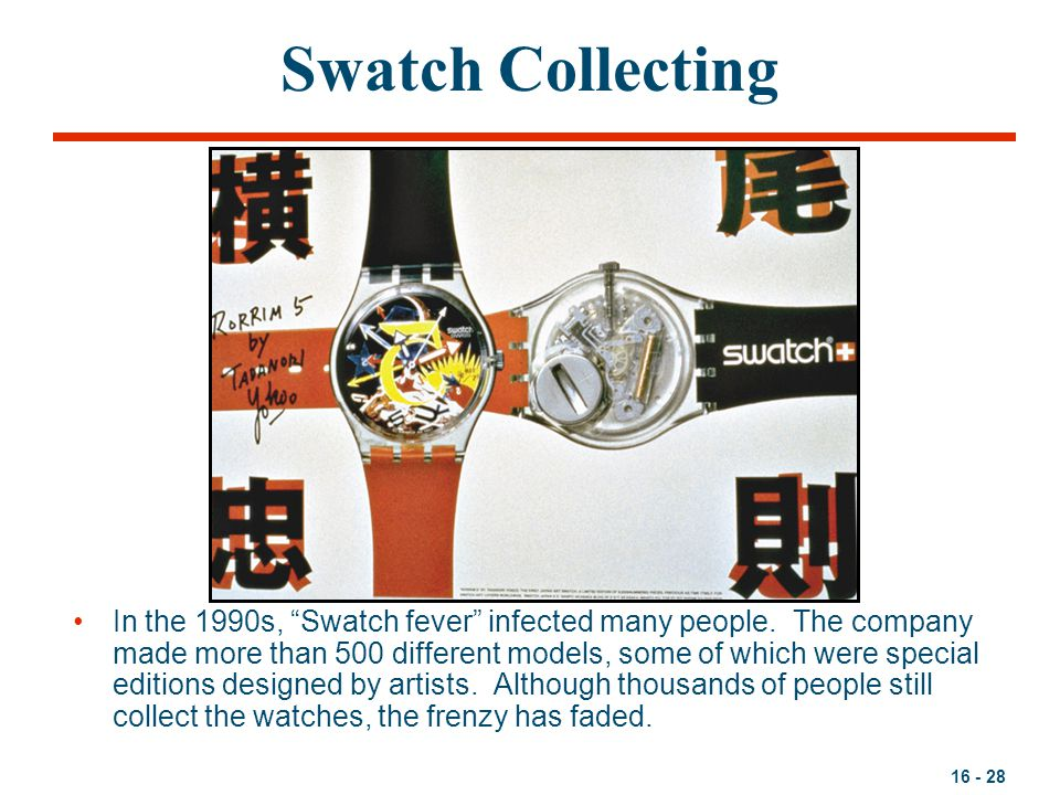 16 - 28 Swatch Collecting In the 1990s, Swatch fever infected many people.