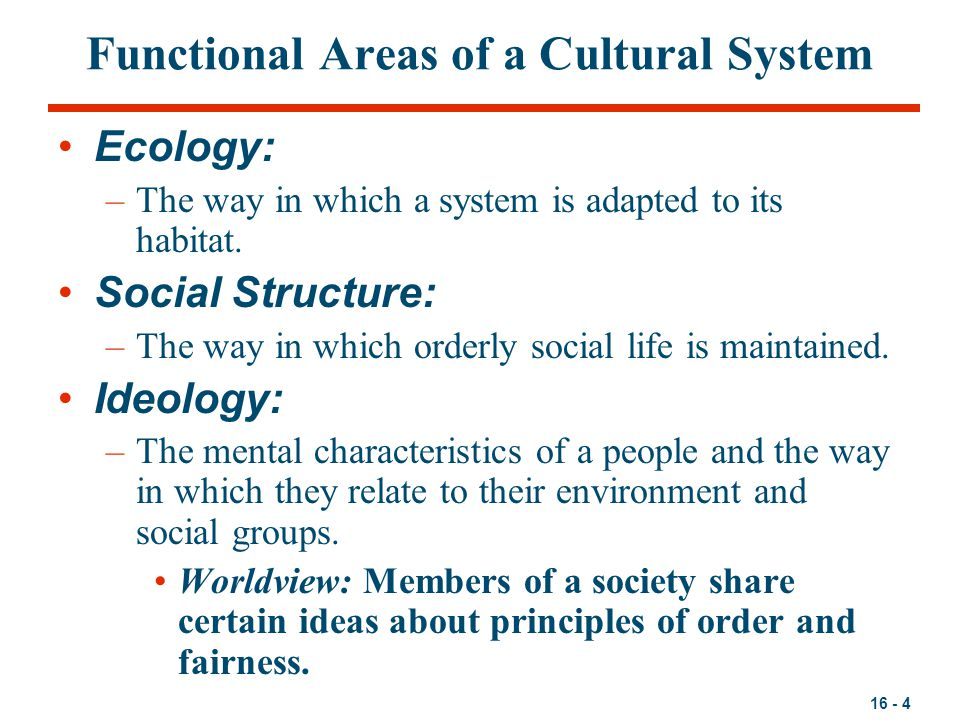 16 - 4 Functional Areas of a Cultural System Ecology: –The way in which a system is adapted to its habitat.