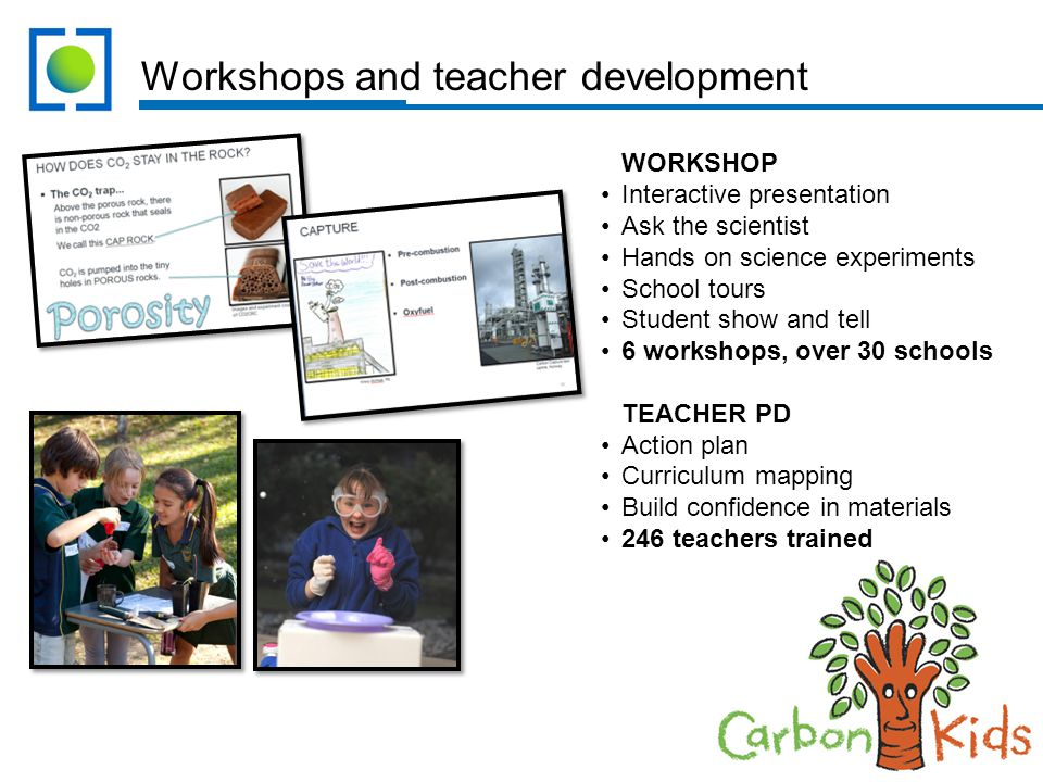 Workshops and teacher development WORKSHOP Interactive presentation Ask the scientist Hands on science experiments School tours Student show and tell 6 workshops, over 30 schools TEACHER PD Action plan Curriculum mapping Build confidence in materials 246 teachers trained