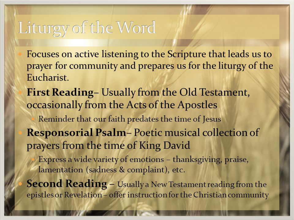 Focuses on active listening to the Scripture that leads us to prayer for community and prepares us for the liturgy of the Eucharist.