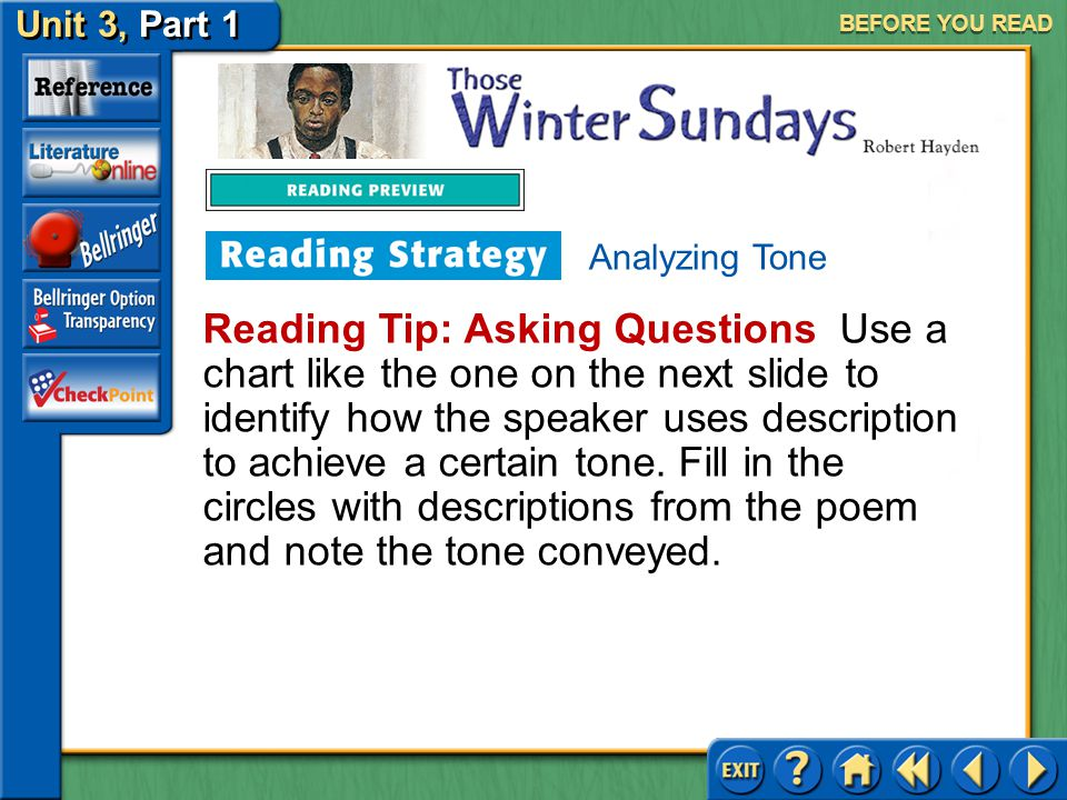 Unit 3, Part 1 Those Winter Sundays BEFORE YOU READ When you analyze the tone of a selection, you deepen your understanding of the author's message. T