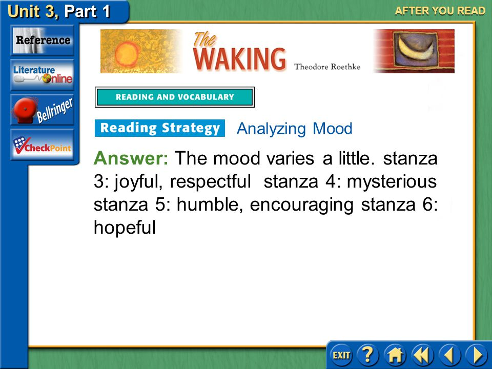 The Waking Unit 3, Part 1 AFTER YOU READ Analyzing Mood