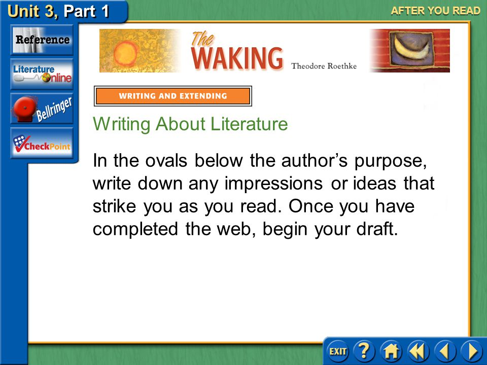 The Waking Unit 3, Part 1 AFTER YOU READ In the center oval, write a phrase that describes the author's purpose. In the ovals above the author's purpo