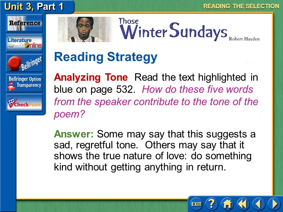 Unit 3, Part 1 Those Winter Sundays The Energy of the Everyday What details make the everyday actions described in the poem particularly vivid? READIN