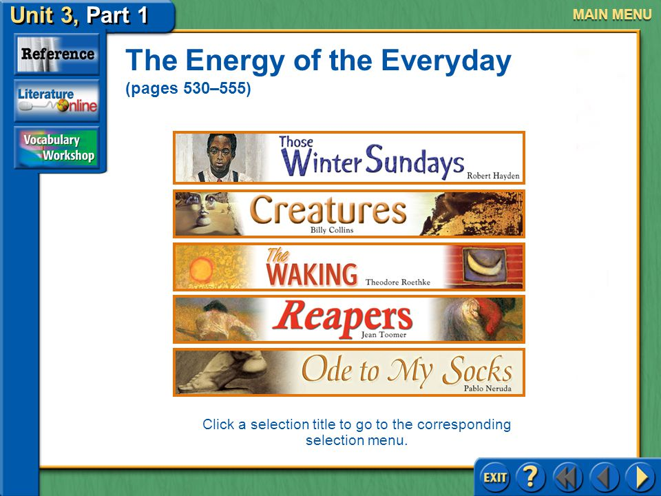 Unit 3, Part 1 Those Winter Sundays Click the mouse button or press the space bar to continue UNIT 3, Part 1 The Energy of the Everyday