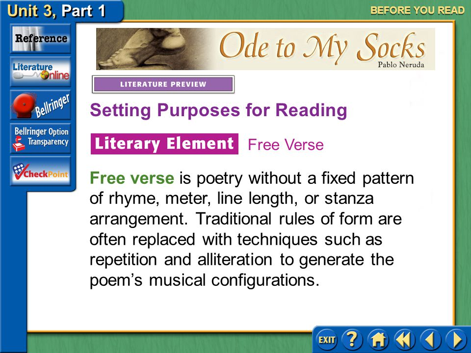 """Ode to My Socks Unit 3, Part 1 BEFORE YOU READ As you read """"Ode to My Socks,"""" try to appreciate the narrator's reverence for his socks, an everyday it"""