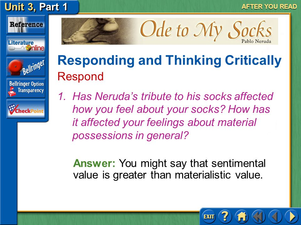 Ode to My Socks Unit 3, Part 1