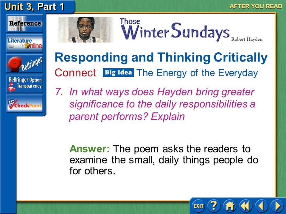 Unit 3, Part 1 Those Winter Sundays AFTER YOU READ Answer: (a) To point out the limited perspective children have of their parents (b) Children and ad