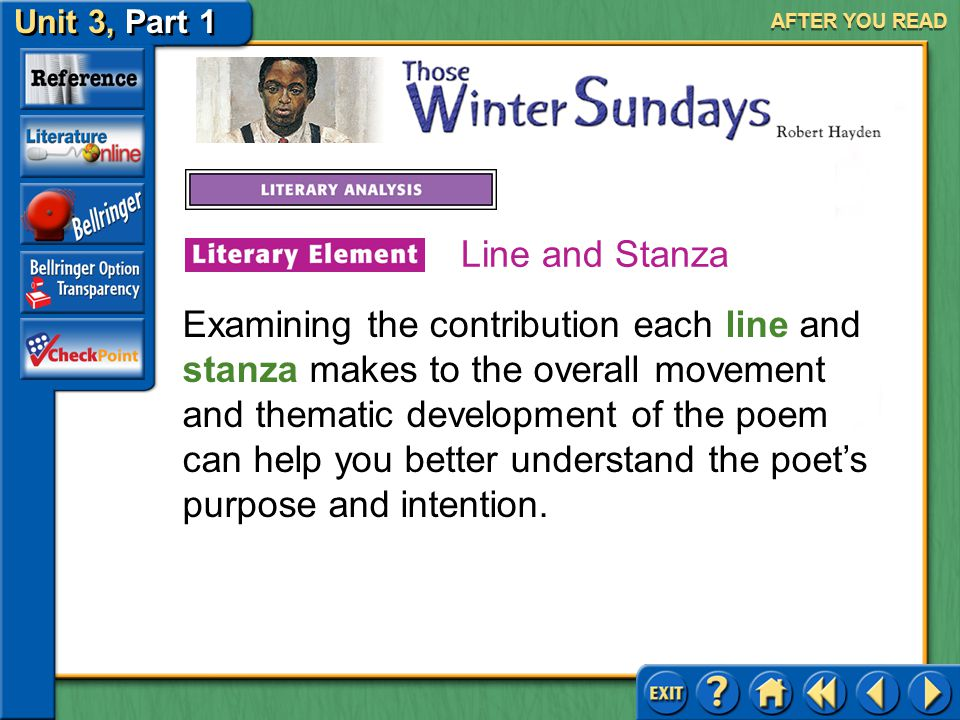 Unit 3, Part 1 Those Winter Sundays AFTER YOU READ Answer: The poem asks the readers to examine the small, daily things people do for others. 7.In wha