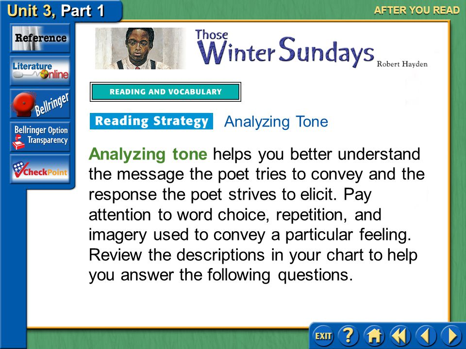 Unit 3, Part 1 Those Winter Sundays AFTER YOU READ In your conversation, the two can either bring up or avoid issues of gratitude and fear of anger. W