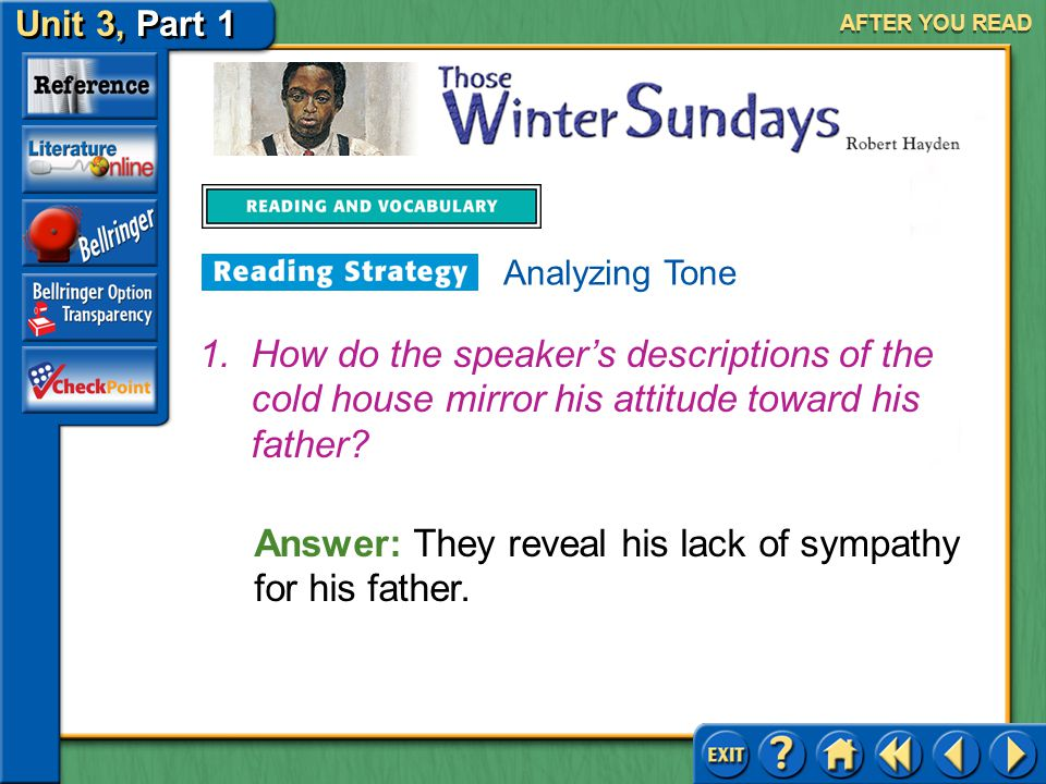 Unit 3, Part 1 Those Winter Sundays AFTER YOU READ Analyzing tone helps you better understand the message the poet tries to convey and the response th