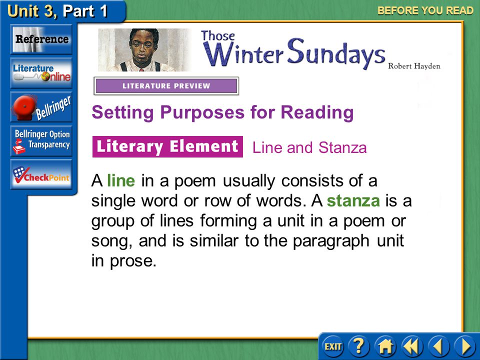 Unit 3, Part 1 Those Winter Sundays BEFORE YOU READ As you read this poem, notice how Hayden captures the different moods and actions of his character