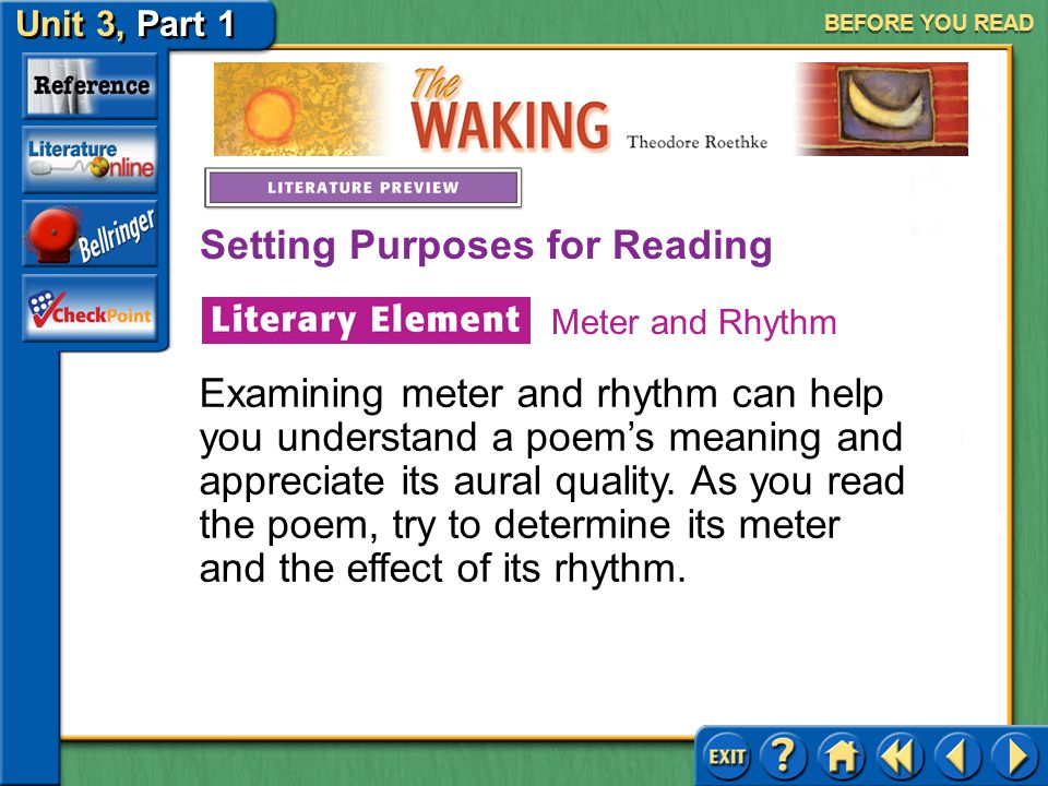 The Waking Unit 3, Part 1 BEFORE YOU READ Setting Purposes for Reading Meter is a regular pattern of stressed and unstressed syllables that gives a li