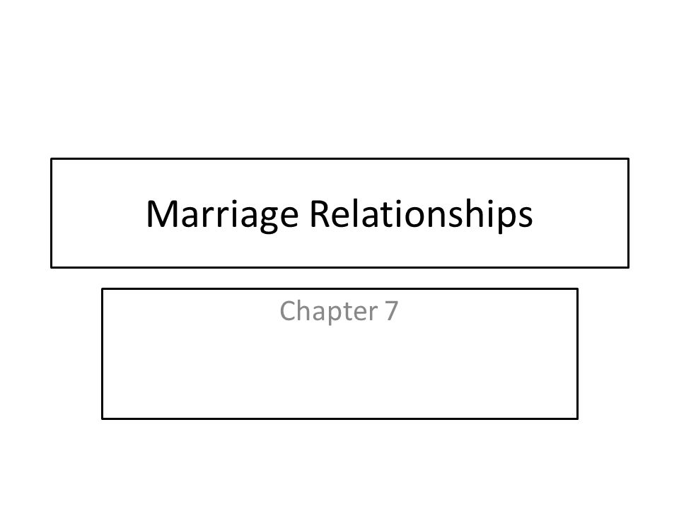 Marriage Relationships Chapter 7
