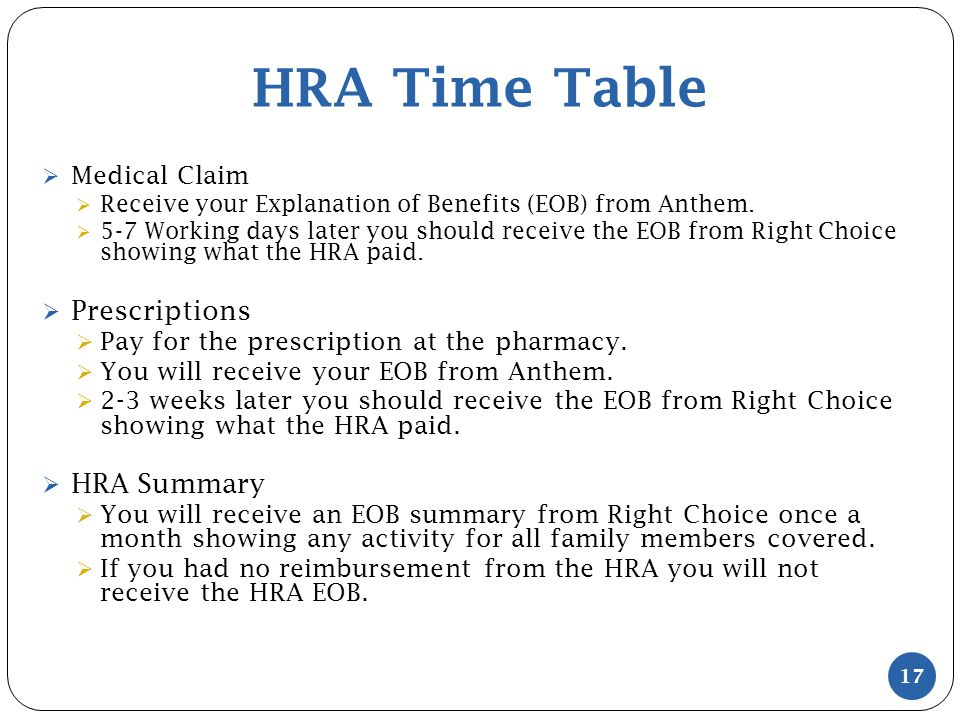 HRA Time Table  Medical Claim  Receive your Explanation of Benefits (EOB) from Anthem.