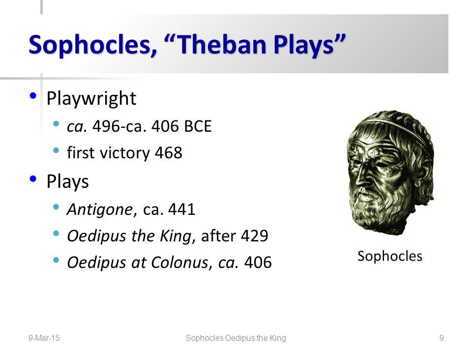 Oedipus Family, Backstory OedipusJocasta PolynicesEteoclesIsmeneAntigone Menoeceus JocastaCreon Eurydice Megareus Haemon Labdacus Laius Polydorus Cadmus 9-Mar-15 Sophocles Oedipus the King 10