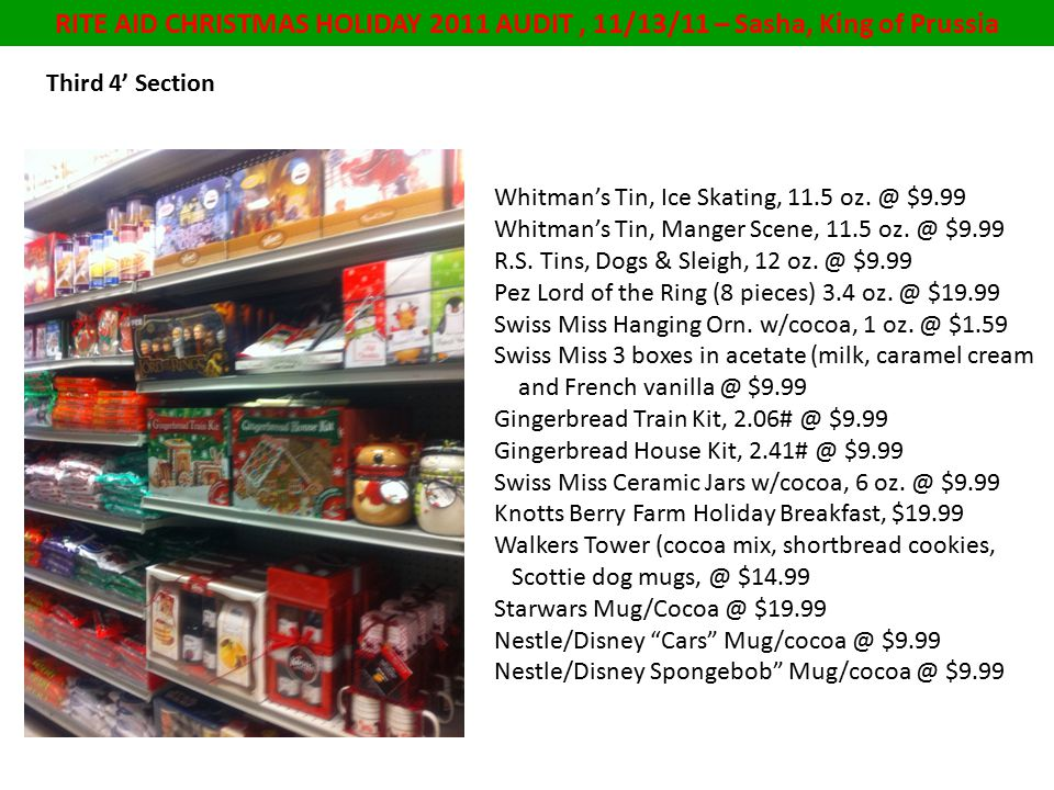 RITE AID CHRISTMAS HOLIDAY 2011 AUDIT, 11/13/11 – Sasha, King of Prussia Third 4' Section Whitman's Tin, Ice Skating, 11.5 oz.