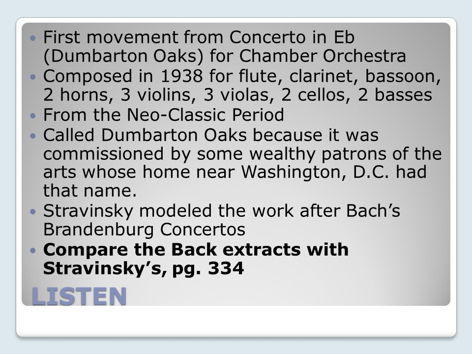 Stravinsky's late period In 1939, Stravinsky moved to America, as Europe headed toward a second World War.