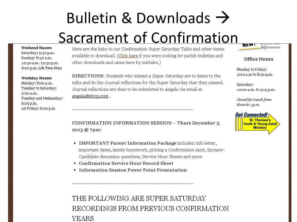 Bulletin & Downloads  Sacrament of Confirmation