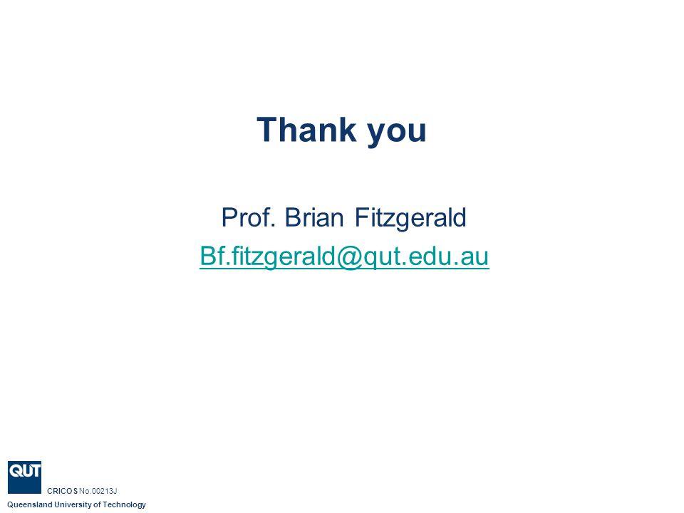 Queensland University of Technology Baden Appleyard CRICOS No.00213J Thank you Prof.