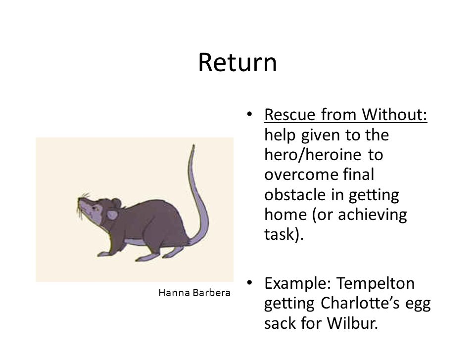 Return Rescue from Without: help given to the hero/heroine to overcome final obstacle in getting home (or achieving task). Example: Tempelton getting