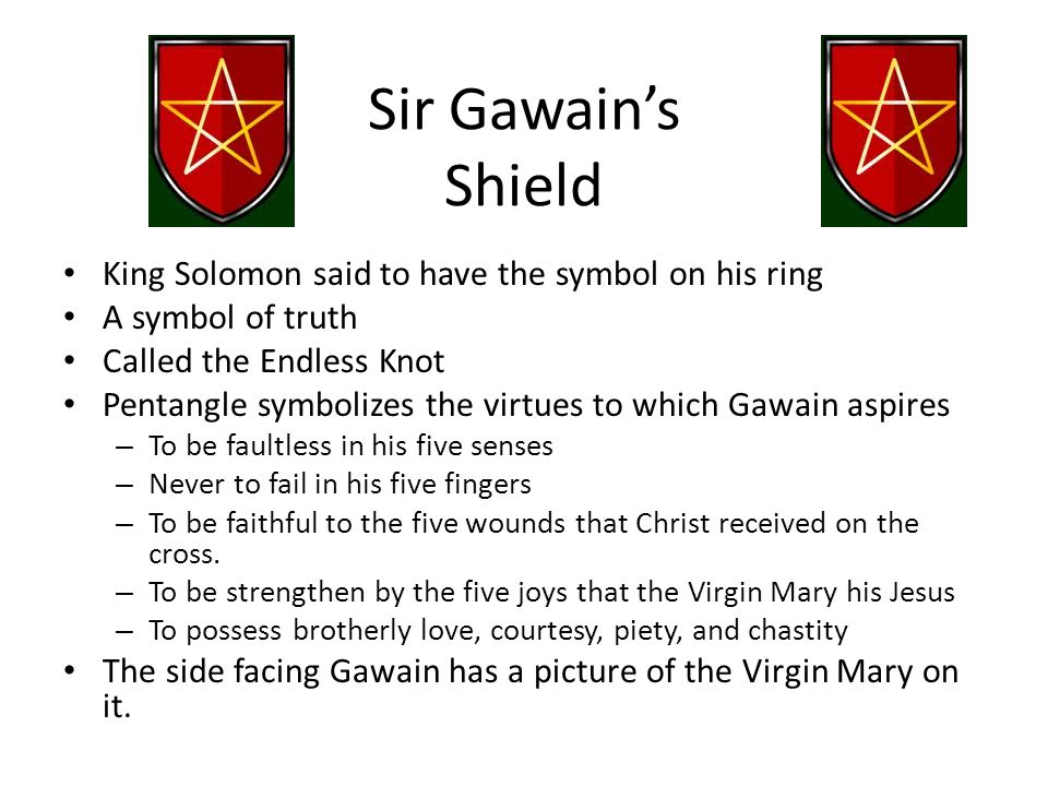 Sir Gawain's Shield King Solomon said to have the symbol on his ring A symbol of truth Called the Endless Knot Pentangle symbolizes the virtues to whi