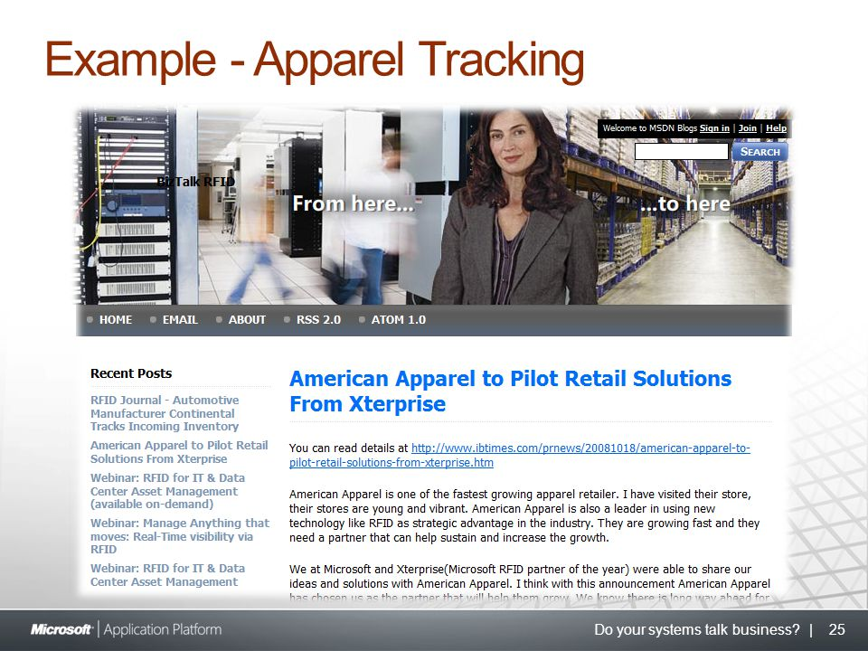 Do your systems talk business? | 25 Example - Apparel Tracking