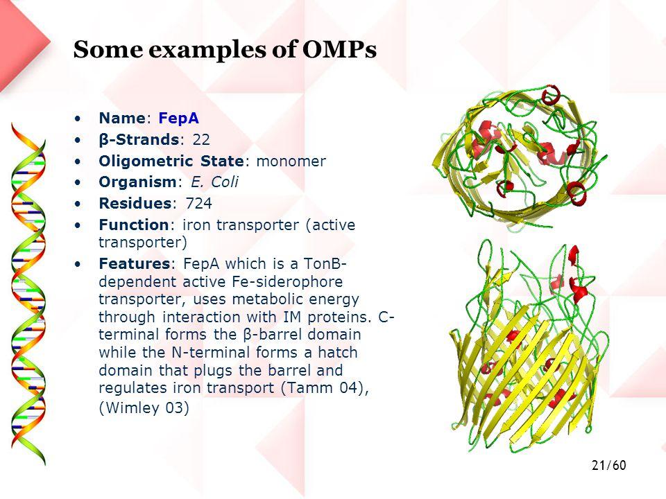 21/60 Name: FepA β-Strands: 22 Oligometric State: monomer Organism: E.