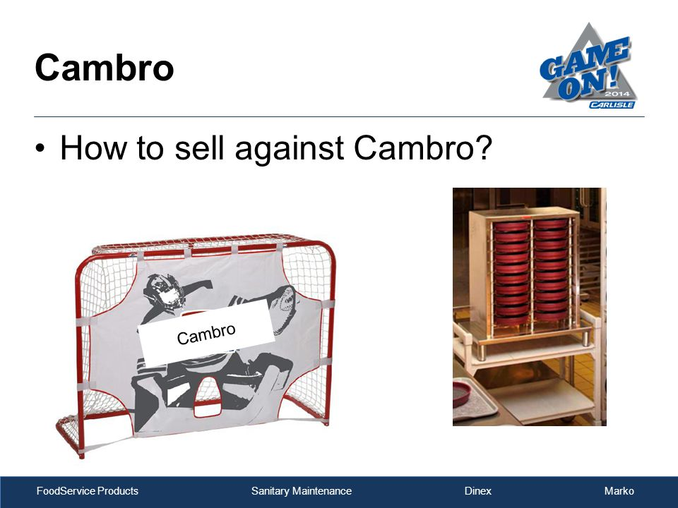 FoodService Products Sanitary Maintenance Dinex Marko How to sell against Cambro Cambro